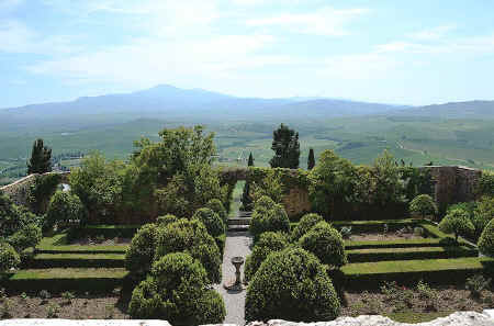 Piccolomini Gardens in Pienza with Monte Amiata